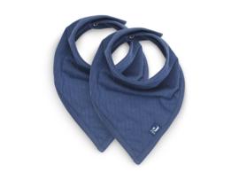Jollein Bandana - Basic strips jeans blue - Bandana met naam - Set van 2