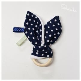 Knuffeloortjes met bijtring - Navy Blauw met witte ster