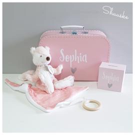 Kraampakket met knuffel - Roze | Kraamcadeau pakket met naam | Voordeelpakket