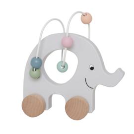 Jabadabado Pull Elephant Abacus | Houten Trekdier Olifant | Grijs Pastel