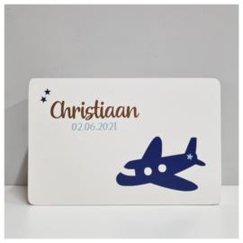 Houten Geboortekist | Herinneringen kist met naam en Vliegtuig | Herinneringskist klein Come Fly With Me