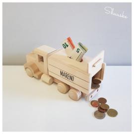 Houten Spaarpot met naam | Spaarpot Kiepwagen