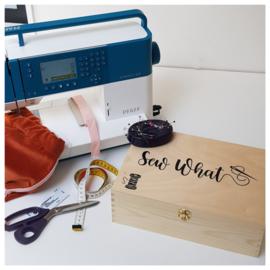 Houten naaidoos | Houten naaikist | Houten naaibox met opdruk | Standaard tekst/afbeelding
