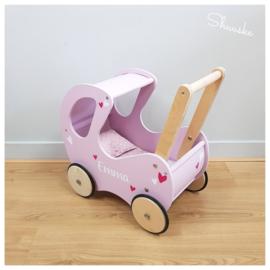 Roze poppenwagen retro met naam en dekentje