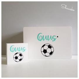 Kraampakket Herinneringenkist met leren BamBam Voetbal en Spaarpot | Goal Getter Voordeelpakket Middel