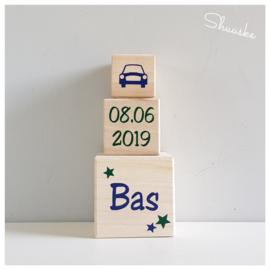 Geboortetoren met naam - datum - Auto   Blokkentoren met naam