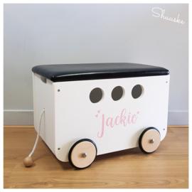 Houten speelgoedkist met naam | Speelgoedkist op wielen - Pinolino Jim Wit