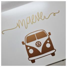 Houten speelgoedkist met naam en VW Busje