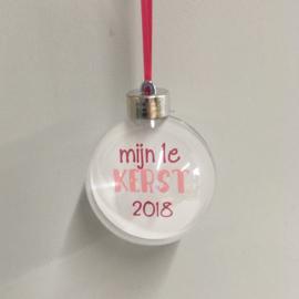 Kerstbal met naam  -  Roze/Fuchsia