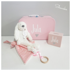 Kraampakket met knuffel - Roze   Kraamcadeau pakket met naam   Voordeelpakket