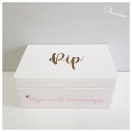 Houten Geboortekist / Herinneringen kist met naam en datum | Simplicity Herinneringskist klein