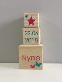 Geboortetoren met naam/datum - Stapelblokken