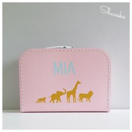 Kinderkoffertje met naam en jungle diertjes