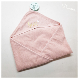 Jollein Badcape Badstof - 75 x 75cm - Pale Pink | Baby Badcape met naam