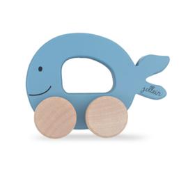 Jollein Sea Animal Blue | Houten Speelgoedauto Walvis | Blauw