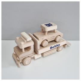 Houten Sleepwagen met auto | Beukenhouten Sleepwagen met naam