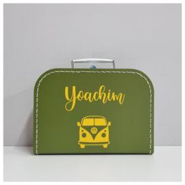 Kinderkoffertje met naam en VW busje | Kraamcadeau met naam