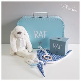 Kraampakket met knuffel - Blauw | Kraamcadeau pakket met naam | Voordeelpakket