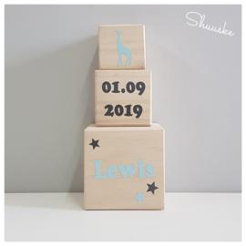 Geboortetoren met naam - datum - Giraf | Blokkentoren met naam