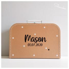Kinderkoffertje met naam en sterretjes | Kraamcadeau met naam