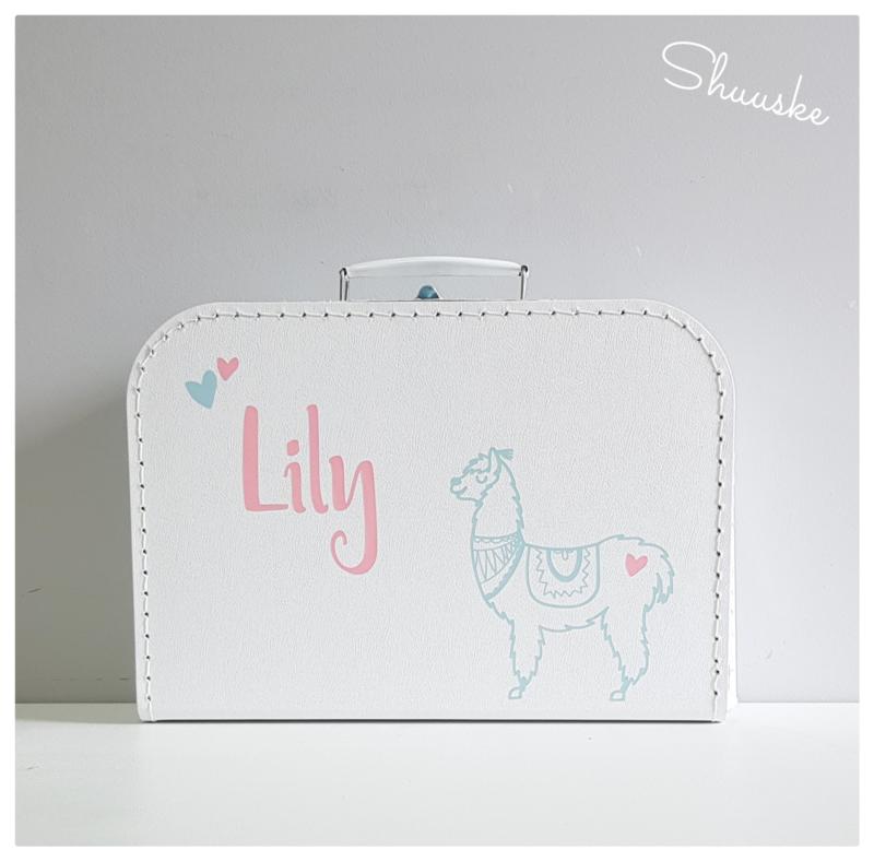 Kinderkoffertje met naam en Alpaca