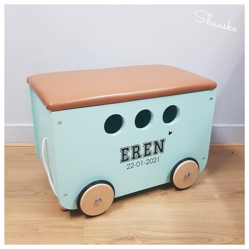 Houten speelgoedkist met naam   Speelgoedkist op wielen - Pinolino Jim Mint