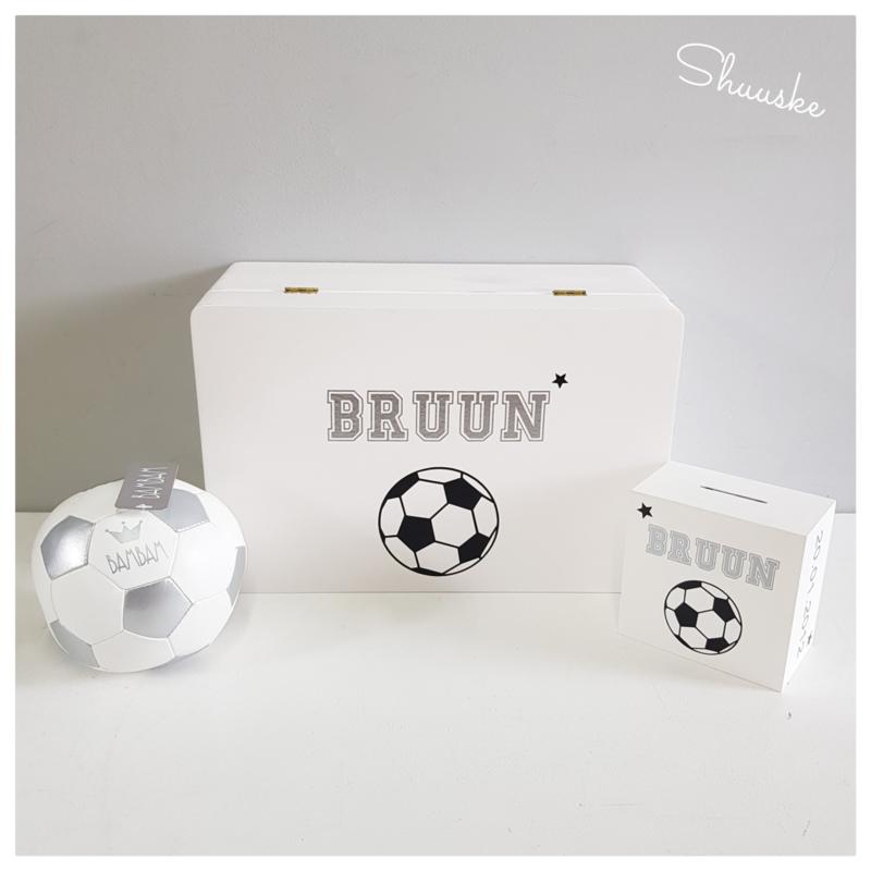 Kraampakket Herinneringenkist met leren BamBam Voetbal en Spaarpot | Goal Getter Voordeelpakket