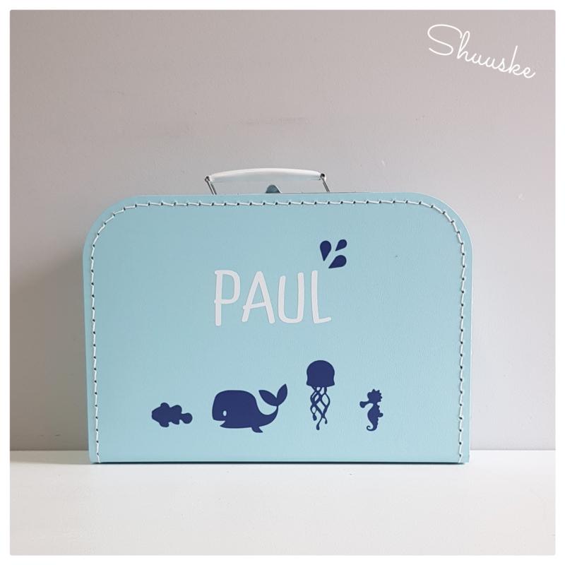 Kinderkoffertje met naam en Zee diertjes