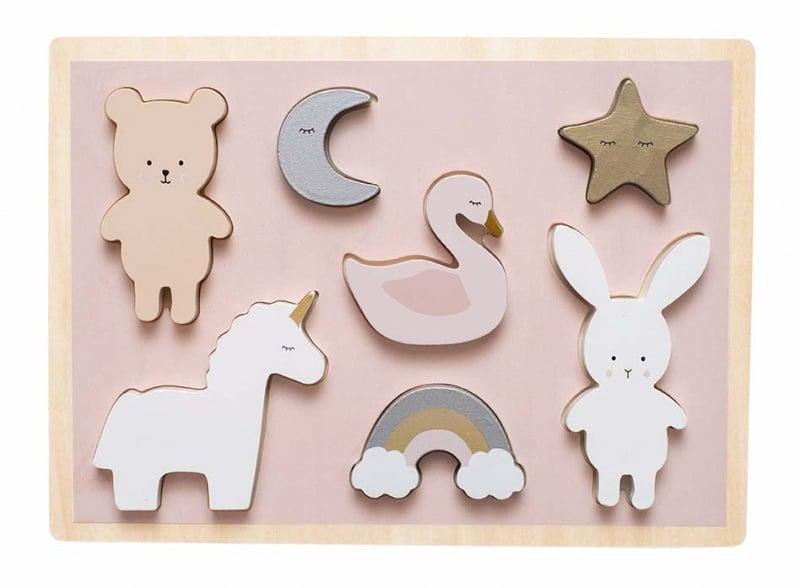 Houten puzzel Teddy & Bunny | Jabadabado Puzzle unicorn