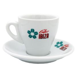 Cafés Ibiza koffiekopje met schotel (120ml)