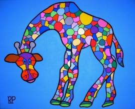 Dierentuin Giraf op canvasdoek 40x50 cm.