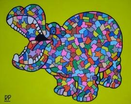 Dierentuin Nijlpaard op canvasdoek 40x50 cm.