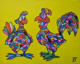 Dierentuin Kip en Haan op canvasdoek 40x50 cm.