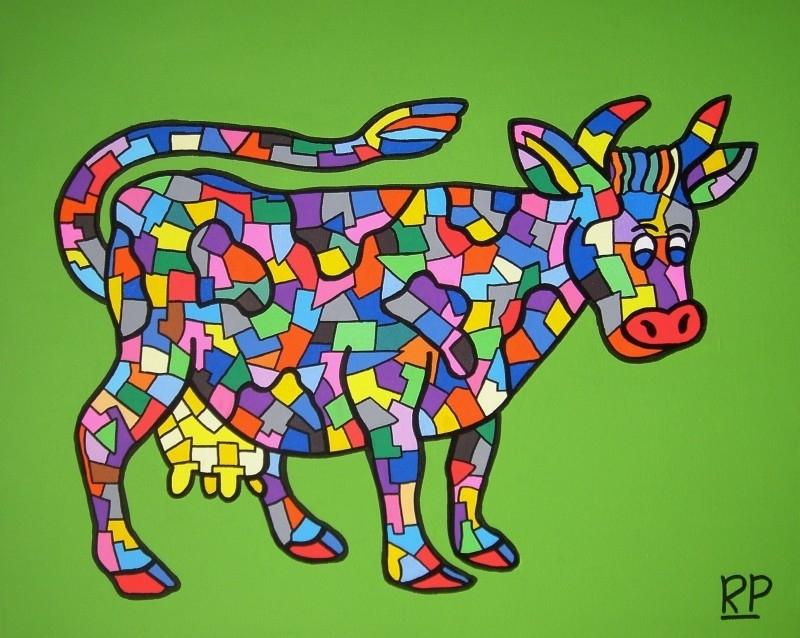 Dierentuin Koe op canvasdoek 40x50 cm.