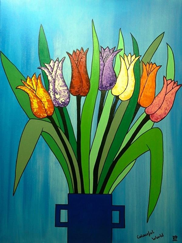 Tulpen op blauwe achtergrond 60x80 cm.
