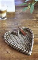 Rustic Rattan Heart Mini Tray