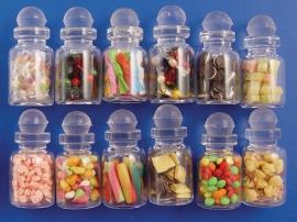 SAD-D933 Koekjes & Snoepjes in glazen potten, set van 12 stuks