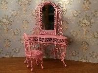 WH-WW50 Kaptafel met spiegel en stoel (in roze)