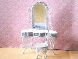 WH-WW51 Kaptafel met spiegel en stoel (wit metaal)