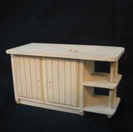 VM-22032 Blank houten keukentafel / eiland