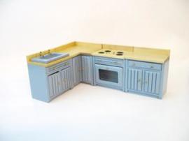 VM-23118 Keuken 4-delig blauw met blank houten aanrechtblad