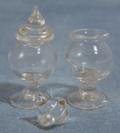 SAD-D1586 Glazen Snoeppot set van 2