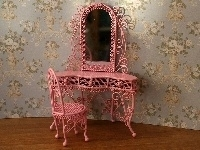 WH WW51 Kaptafel met spiegel en stoel (wit metaal