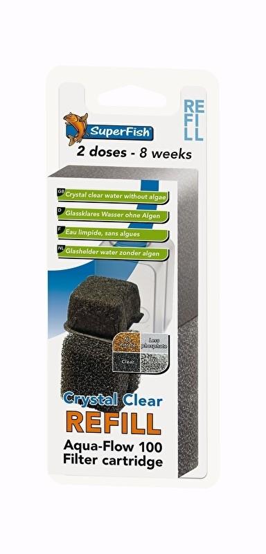 Aqua flow 100 crystal clear cassette, 2 stuks