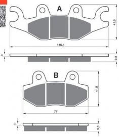 Remblokken PGO BR500/600cc, voorzijde