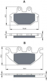 Remblokken PGO BR500/600cc, achterzijde