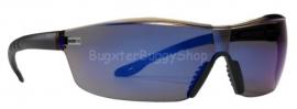 Veiligheidsbril met blauwe neussteunen en bevestiging.