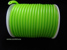 Rubber koord 4 mm hol Neon Groen