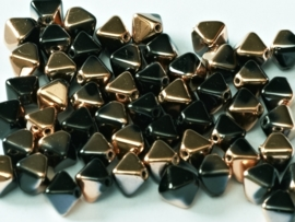 Bicone Beads 6 mm Jet Capri Gold (per 50)