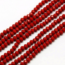 Rondellen 3 x 4 mm Opaque Red